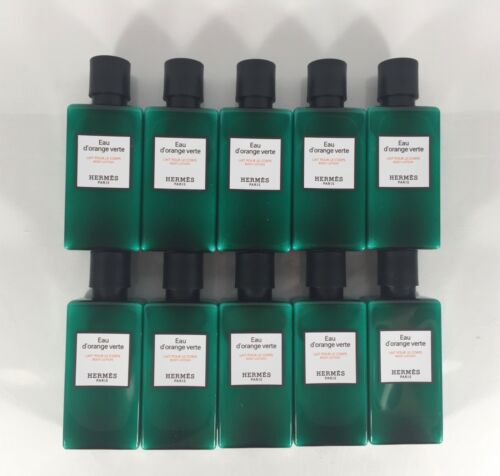 13.5oz Hermes d'Orange Verte Body Lotion 10 1.35 Ounce Bottles FREE BONUS!
