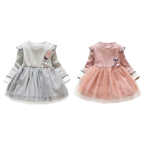 Rabbit Decor O-neck Princess Dress Kid Girl Winter Long Sleeve Mesh Dresses