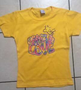 BNWT LADIES WOODSTOCK (SNOOPY) PEACE & LOVE FITTED TSHIRT  SIZE 8
