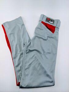 NIKE Vapor Baseball Pants Dri-Fit Grey Red Unhemmed Mens Small