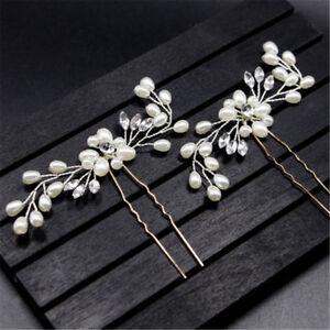 Vintage Hochzeit Braut Perle Blume Crystal Hair Pins Brautjungfer