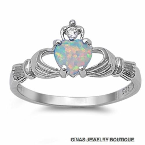 PRETTY WHITE OPAL CLADDAGH CELTIC 925 All Geniune Sterling Silver 3 To 13