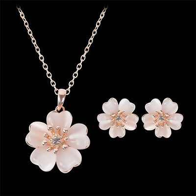 Women Pink Opal Cherry Crystal Pendant Chain Necklace+Earrings Sweet Jewelry Set