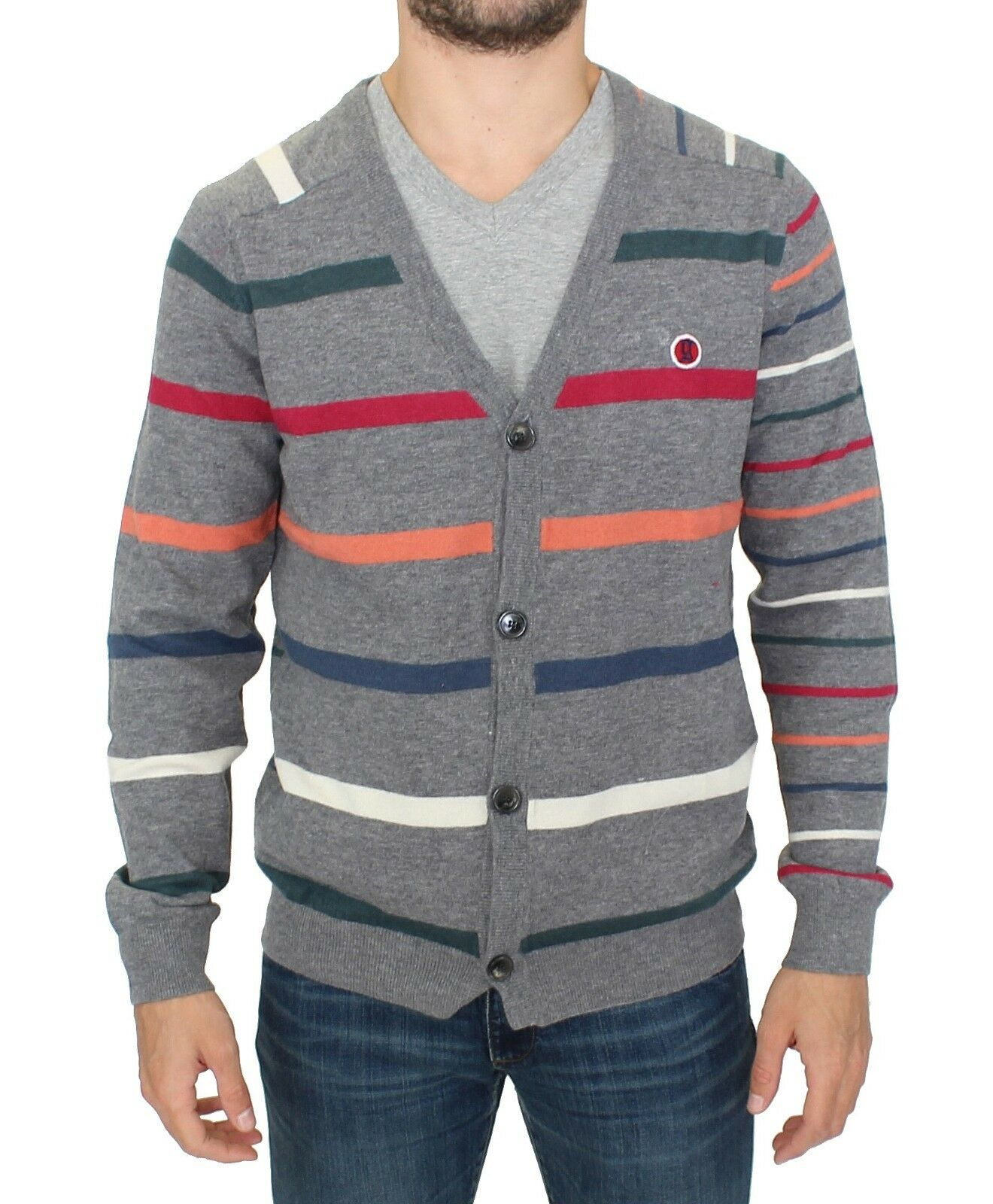 NEW GALLIANO grau Multicolor Striped Wool Button Down Cardigan Sweater s XL