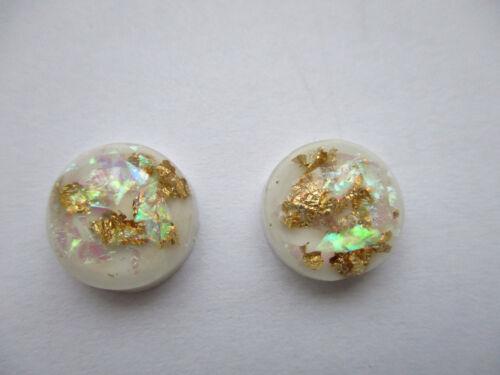 GOLD FOIL GLITTER WHITE SPARKLE OPAL RESIN AB STUD EARRINGS 12MM