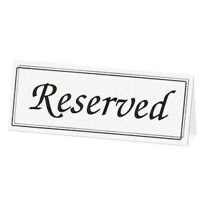 Image Is Loading Black White Reserved Table Signs Cards Wedding Reception
