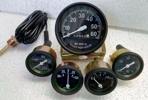 Willys MB Jeep Ford GPW CJ A4 Speedometer Temp Oil Fuel Amp Gauges Kit