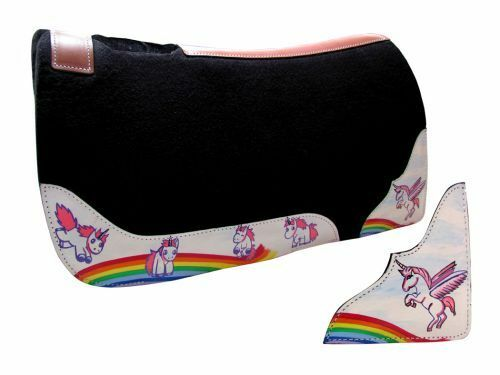 RAINBOW PONY UNICORN HEAVY WOOL FELT SADDLE PAD 24  X 24  PONY SIZE HORSE PAD