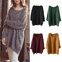 Fashion Women Loose Oversized Knitted Jumper Sweater Batwing Sleeve Tops