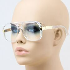 Elite Mens Classic Vintage Style Clear Lens EYE GLASSES Transparent & Gold Frame