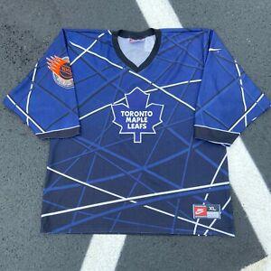 90s-Nike-Toronto-Maple-Leafs-Geometric-NHL-Street-Blue-Hockey-Jersey-VTG-Size-XL