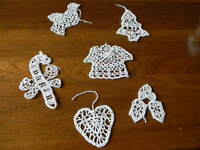 Lot Of 6 Hancrafted Whitesilver Crocheted Christmas Tree Ornaments 5 A07
