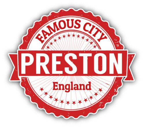 """Preston City England Grunge Travel Stamp Car Bumper Sticker Decal 5/"""" x 4/"""""""
