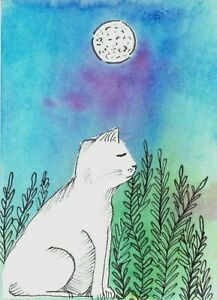 Original-Painted-ACEO-Art-Card-2-5-x-3-5-Signed-White-Cat-Watercolor-Mix-Media