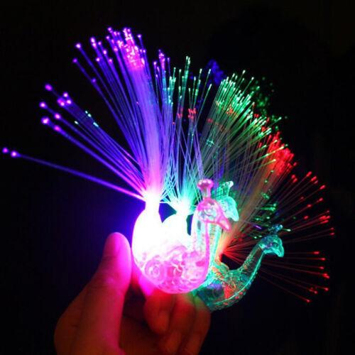 Plastic Creative Child Peacock LED Fiber Finger Night Light Party Toy Gift Nice