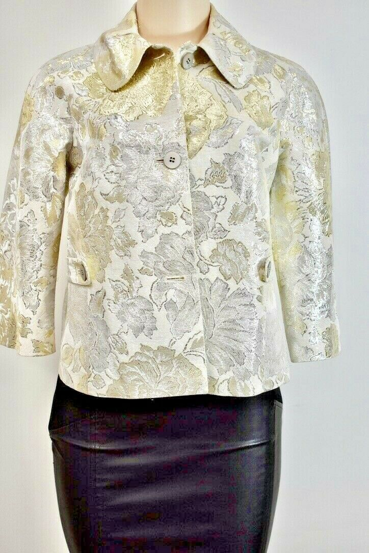 Barneys new York Made In Italy Floral Gold Women's Jacket Size M On Sale sn