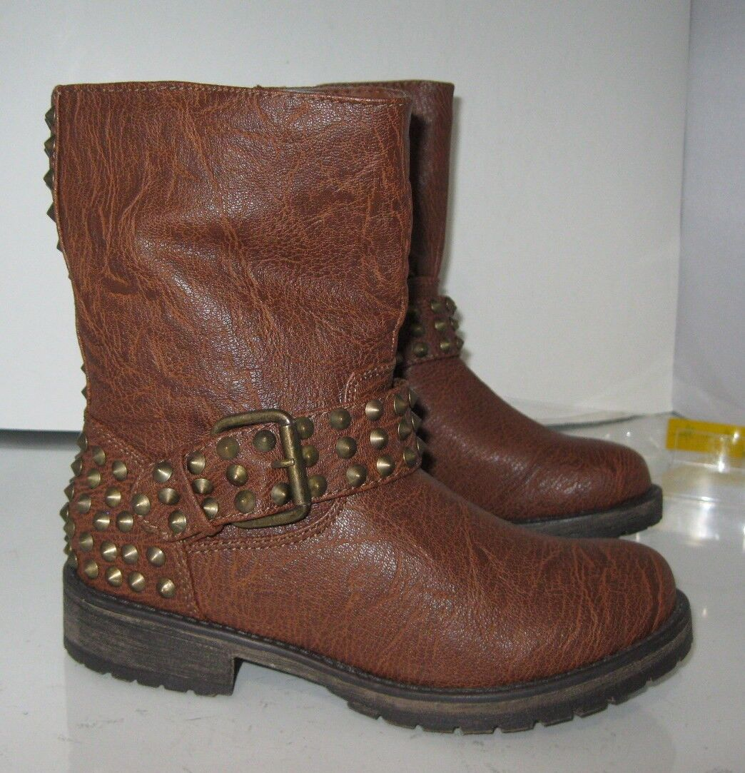 """NEW Womens Tan 1.5""""Block Heel Spikes Sexy Combat Ankle Boot Size 5.5"""