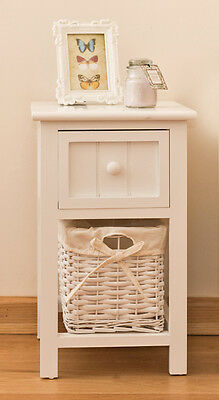 Brand New Shabby Chic White Bedside Unit with Wicker Storage