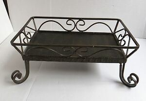 "Decorative Wrought Iron Table Centerpiece Basket Tray 10.5"" x 15"" x 6"""
