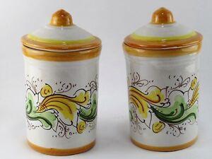 Set barattoli contenitori  decorati a mano in ceramica di Caltagirone H 17 cm
