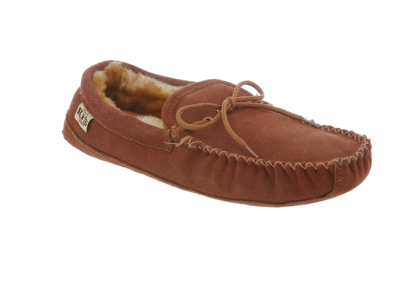 Rj's Fuzzies Slipper Sheepskin Mens Soft Sole Moccasin Brown Medium (D, M) 12