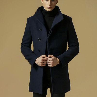 Men Wool Slim Fit Long Peacoat Coats Fleece Trench Jacket Warm Outwear Parka