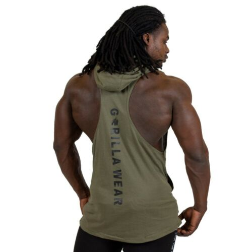 Shirts Gorilla Wear Lawrence Hooded Tank Top Army Green Grün Olive Fitness Bodybuilding