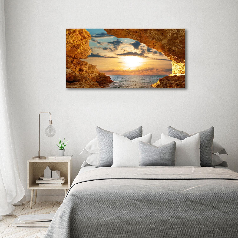 Cuadros pantalla de pa rojo  cristal pantalla Cuadros impresión en cristal 140 x 70 decorativos paisajes cueva junto al mar 8be434