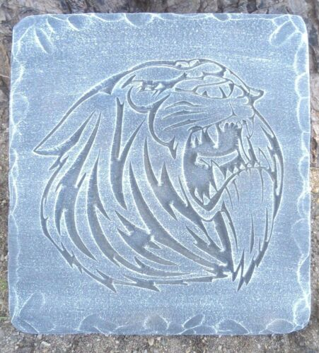 "Growling tiger stepping stone mold plaster concrete mould 12/"" x 11/"" x 1.20/"""