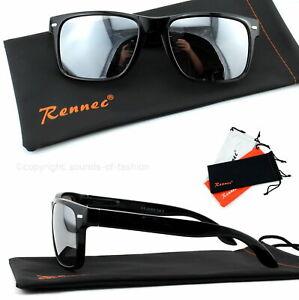 Sonnenbrille-Glanz-Schwarz-Silber-Verspiegelt-Nerd-Rechteckig-Damen-Herren-A3