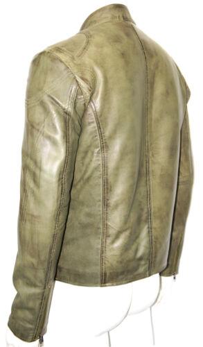 Carter Men/'s Gents Olive Designer Real Sheep Napa Lambskin Washed Leather Jacket