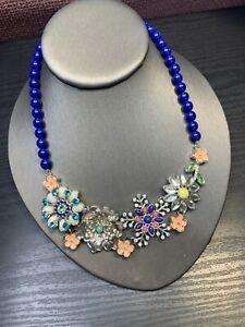 """Vintage Signed Colorful Faceted 9 Flower Rhinestone Bib Statement Necklace 16"""""""