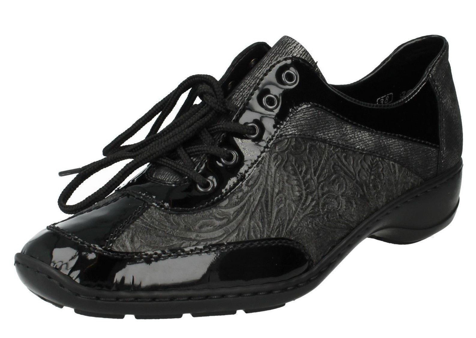 Damen Rieker schwarze geschnürte Leder Flacher Schuh 58312-00