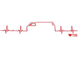 Autocollant Volkswagen Heartbeat Decal VW Rouge 11x3 par eau Dub T25 Bus Camper