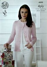 KNITTING PATTERN Ladies Long Sleeve Round Neck Cardigan Cotton 4ply 4503