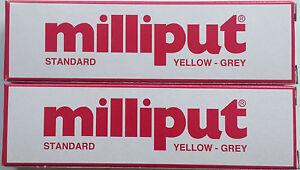 2 X milliput estándar Amarillo Gris 2 parte expoxy masilla de relleno reparación Modelo 113.4 G  </span>