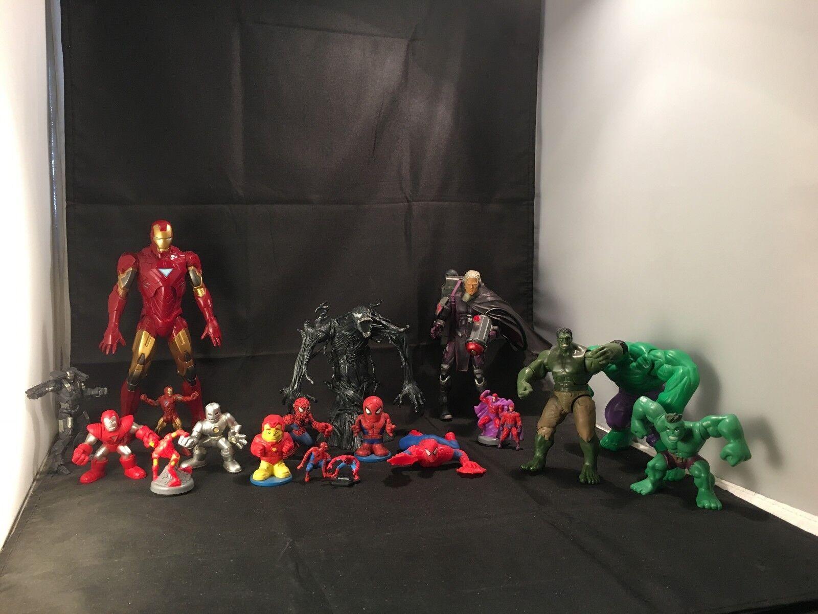 Marvel – Spiderman   Hulk   Iron Man   Magneto -19 Pieces Collectables Toys Set