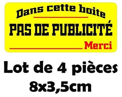 GRAND Sticker Autocollant STOP PAS DE PUB MERCI boite aux lettres 14x7 cm BIG