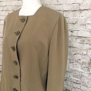 AKRIS-Women-039-s-Size-14-Suit-Jacket-Beige-Button-Front-Collarless-100-Silk