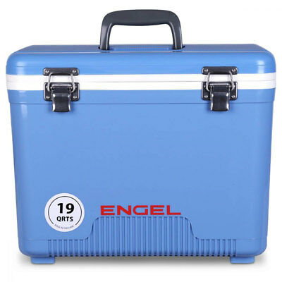 Engel 19 Quart Fishing Bait Dry Box Ice Cooler with Shoulder Strap, Arctic Blue