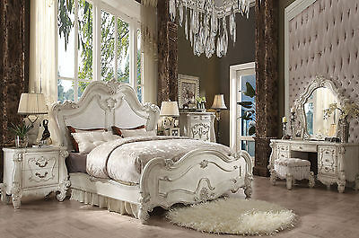ARIES 6pc NEW European Traditional Design Antique White Bedroom Set w/ Queen Bed
