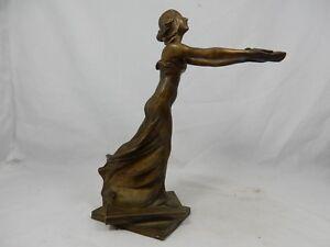 Schoene-originale-Jugendstil-Bronze-Figur-beautiful-Art-Nouveau-figure-039-Ollampe