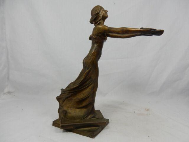 Schöne originale Jugendstil Bronze Figur beautiful  Art Nouveau figure ' Öllampe