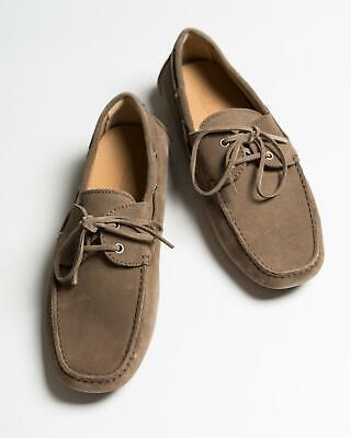 Kiton $995 NIB Light Brown Suede Leather Moccasin Driver Shoes 8.5 US