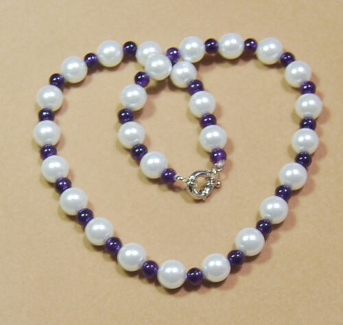 6 mm Améthyste//10 mm blanc Akoya Shell Pearl PERLES rondes Collier AAA