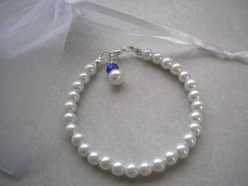 Perla y pulsera de cristal para niñas de dama de honor Flor para Niños Damas Tamaños 15F