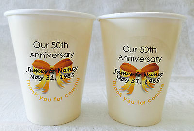 24 Personalized Ivory hot/cold 9oz. Cups for 50th, 60th Anniversary Party Supply