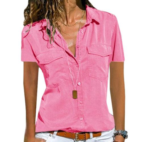 Damen Übergröße V-Ausschnitt Hemdbluse Sommer Freizeit Kurzarm Hemd Bluse Shirt