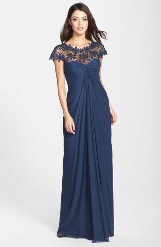 NWOT  navy Tadashi Shoji Beaded Lace Yoke Gathered Mesh Gown  size L