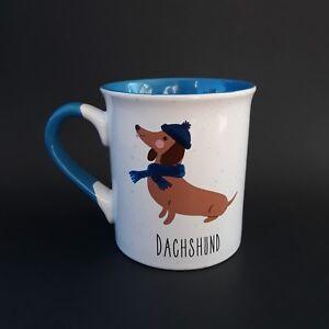 Dachshund-Dog-Coffee-Cup-Mug-Blue-Hat-Scarf-Doxie-14-Oz